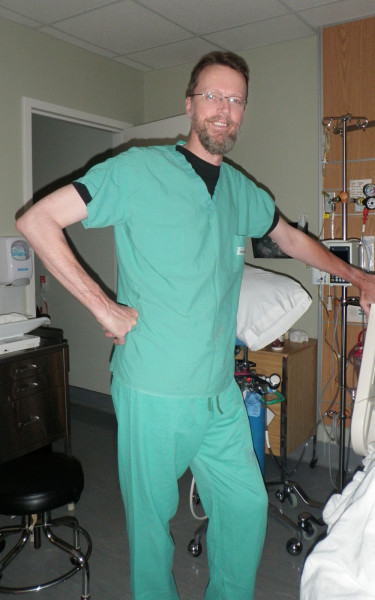 Suited up for the OR after it became clear that C-Section was the only option. This was taken by a helpful nurse in the early morning hours of 3 September 2013.